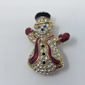 Monet Crystal Pave Snowman Brooch Pin Christmas